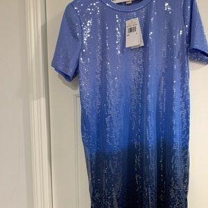 Michael Kors Ombré Blue T-Shirt Dress Sequins NWT